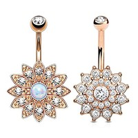 BodyJ4You Belly Button Ring Jeweled Flower Crystal Created-Opal Rose Gold 14G Piercing Bar 2-Piece