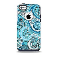 The Vibrant Blue and White Paisley Design Skin for the iPhone 5c OtterBox Commuter Case (Decal Only).png