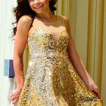 TOP OF THE WORLD DRESS IN GOLD SEQUIN