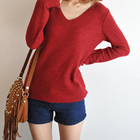 Women v neck t shirt/women knit/women sweater/women t shirt/women tshirt/red sweater/red knit/women shirt/v neck sweater/long sleeve t shirt