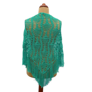 Crocheted Green Shawl . Crocheted Pineapple Lace Shawl . Triangular Wrap . Frilly Shoulder Wrap Scarf .