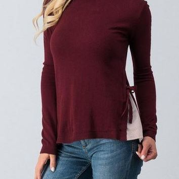 Burgundy Long Sleeve Sweater with Side Slit