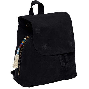 BLACK SUEDE EMBROIDERED POET BACKPACK