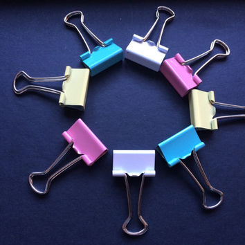 8 x Small Binder Clips in Pastel
