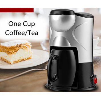 Black Pink 0.15L Electric Drip Coffee Maker With Mug Household Coffee Machine Coffee Pot Tea One Cup 220V