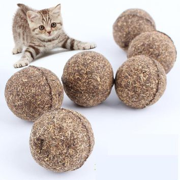 Pet Cat Natural Catnip Treat Ball Favor Home Chasing Toys Healthy Safe Edible Treating