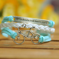 "bike bracelet, ""Where there is a will, there is a way"" --Wax Cords and Leather Bracelet--B193"