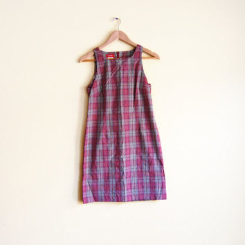 Vintage 90s Plaid Mini Dress - 90s Dress Small Tartan Dress 90s Mini Dress 90s Plaid Dress High Neck Dress Mini Dress Small Clueless Dress