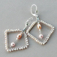 Pink Pearls, Pearl Jewelry, Pearl Earrings, Semi Precious, Wire Wrapped Earrings, June Birthstone, Gift For Her, Bridal Jewelry, Artisan