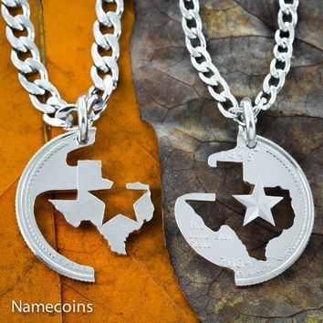 Texas couples Necklace Lone Star State, Hand Cut Real State Quarter