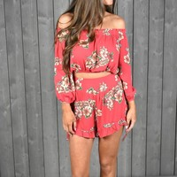 Fiery Red Floral Set - These Three Boutique
