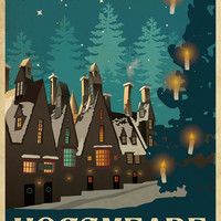 HOGSMEADE Harry Potter Travel Poster Vintage Print Wall Art House Warming New Apartment