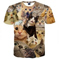 Surprised Kitty Cat Collage Photo Print Graphic Tee T-Shirt for Women
