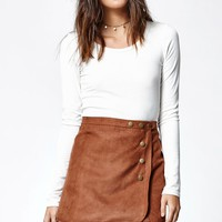 LA Hearts Faux Suede Side Snap Skirt - Womens Skirt - Spice
