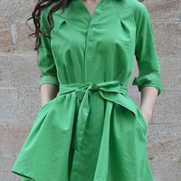 Casual Pure Color Bowknot Belt Pleated Dress
