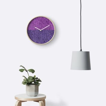 'PURPLE DENIM' Clock by IMPACTEES