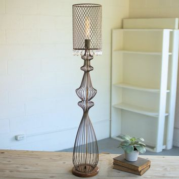 Wire Table Lamp w/metal Mesh Shade & Glass Gems ~ Large