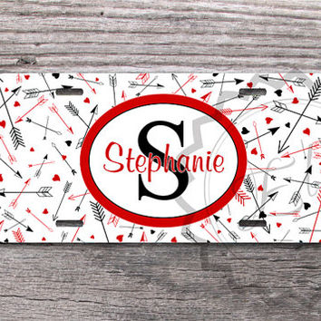 Cute License Plate -  Arrows, monogrammed front car plate, personalized car tag, custom name or monogram license tag, for Valentines Day 196