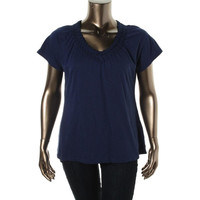 JM Collection Womens Braided Trim V-Neck Pullover Top