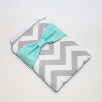 iPad Mini, Kindle, Nook, eReader Case - Gray and White Chevron Stripes with Turquoise Bow - Padded