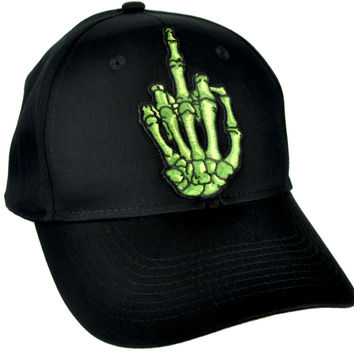 Skeleton Hand Middle Finger Hat Baseball Cap Skater Thrasher Clothing