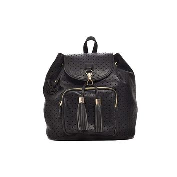 Women's Jamie Black Vegan Leather Backpack