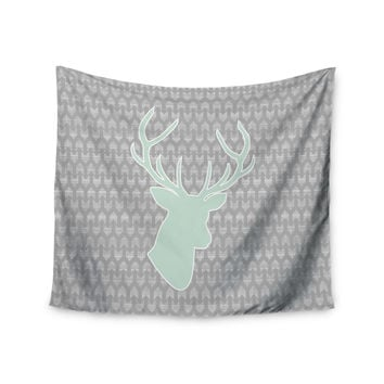 "Pellerina Design ""Winter Deer"" Gray Green Wall Tapestry"