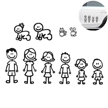 1 Pcs Family Member Car Sticker Car Decal Decoration Vinyl Art Decal For Car Removable Black