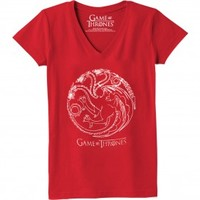 Game of Thrones Targaryen Women's Slim Fit V Neck T-Shirt