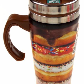 Coffee Travel Mug 16oz Stainless Donut Brown Splash Guard Thermal Retention SS