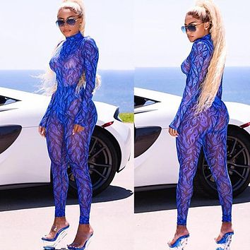 Sexy Blue Sheer Mesh Jumpsuit Rompers Women Autumn Winter Long Sleeve Turtleneck Print Skinny See-through Party Club Overalls