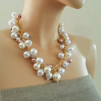 Chunky Pearl Necklace - Pearl Cluster Rhinestone Necklace - Pink Ivory White Pearls - Bling Balls - Bib Weddingl Everyday Prom Jewelry