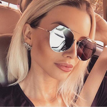 Luxury Flat Top Cat Eye Sunglasses Twin Beam Sun glasses Alloy Frame UV400