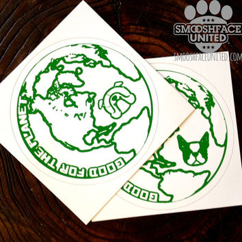 English Bulldog decal - do you have the best dog on earth? Bulldogs are good for the planet!  Outdoor circle dog sticker