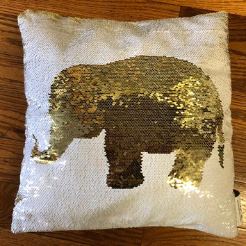 16x16 inches Mermaid Sequin Pillow with Insert-White Gold Elephant