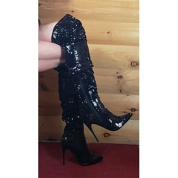 Courtly 3011 Sexy Slouch Black Sequin Thigh high boots 5 inch Black Stiletto Heels