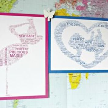 Personalised New Baby Boy/Girl A4 Print. Two Styles