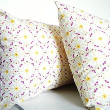 Long Bolster Pillow Decorative Pillows Bohemian Bedding - Mustard Yellow, Green Apple Green, Pale Pink and Purple