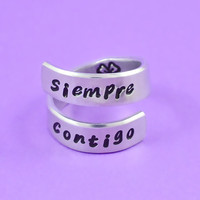 Siempre Contigo - Hand Stamped Spiral Aluminum Ring, Always With You Ring, Soul Friends Ring