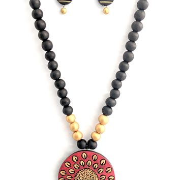 Terracotta Half n Half Circle Necklace with Earring Set
