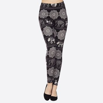 "Abstract Black Elephant Floral Print Peach Skin 1"" Waist Band Soft Brush Leggings"