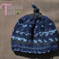 Blue and Gray Knit Baby Hat 0-3 months with Knotted Top