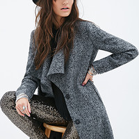 FOREVER 21 Longline Tweed Coat Grey/Black