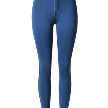 Dark Blue High Waist Stretch Skinny Jeans