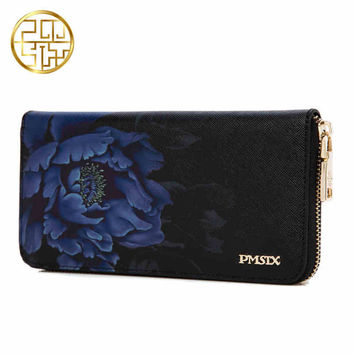 Pmsix 2016 New Flower Print Chinese Wind Cattle Split Leather Wallet Purse Zip Large Capacity Long Ladies Vintage Clutch Wallet