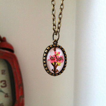 Pink Flower Necklace Cherry Blossom Jewelry, Hand Painted Pendant, Oval Glass Small Charm Tiny Pendant Bridesmaid Gift Necklace Wearable Art