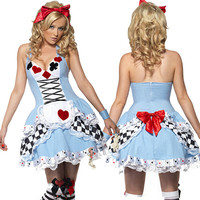 Alice In Wonderland Costume Halloween Sexy Ladies Dress Anime Maid Cosplay Women Poker Fancy Dress Alice In Wonderland Costume