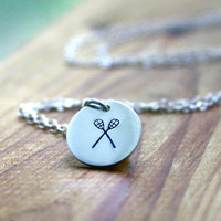 Lacrosse necklace Hand stamped jewelry charm necklace
