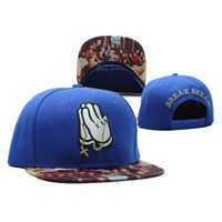 Cayler & Sons Break Bread Mickey Mouse Drake OVO 6 God Praying Hands Jesus The Last Supper Leonardo Da Vinci Design Blue Hip Hop Baseball Cap Snapback Hat