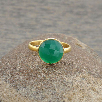 Green Onyx 10mm Round Micron Gold Plated 925 Sterling Silver Ring - #1176